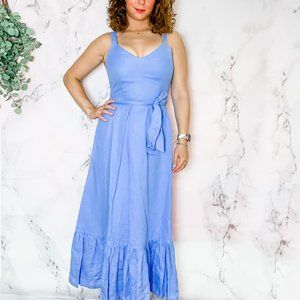 J Crew Midi Blue Sleeveless Dress Size 2